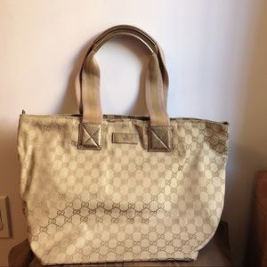 💯Auth. Gucci GG print Fabric Tote Bag Pink/ Gold